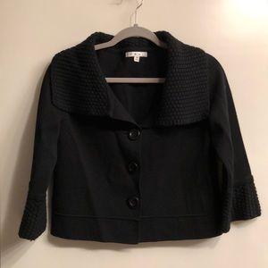 cabi black, short, three-button sweater